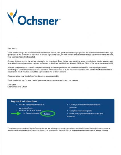 Oschner Letter
